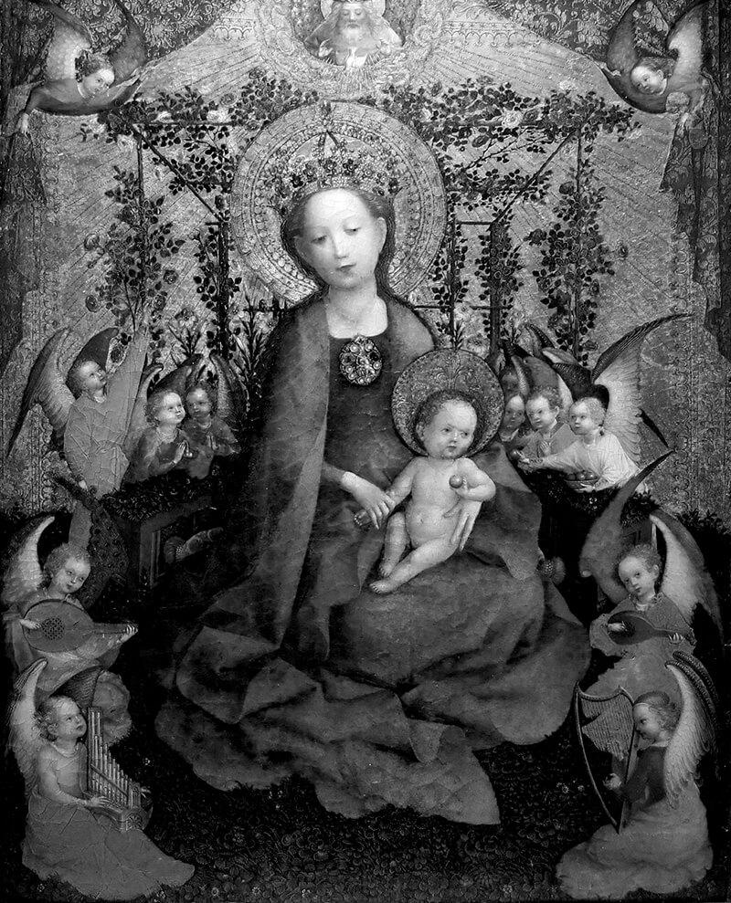 Madonna im Rosenhag von Stefan Lochner