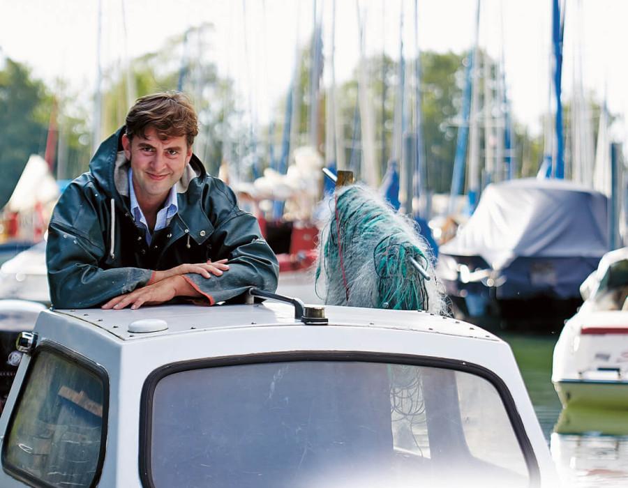 Andreas Meichle, in 14. Generation Fischer auf dem Bodensee.