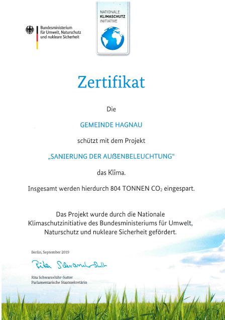 Zertifikat Sanierung der Aussenbeleuchtung 2019